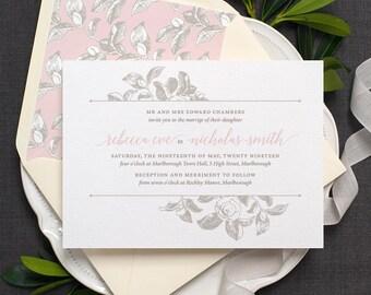 Botanical Wedding Invitation / 'Vintage Rose' Modern Calligraphy Floral Wedding Invite  / Dusty Rose Blush Pink Light Grey / ONE SAMPLE