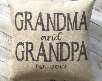 Gift from Grandkids - New Grandparent Gift - Farmhouse Pillow -New Grandma - Burlap Pillow - New Grandpa  - Personalized - Gift Under 25