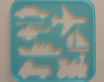 Vintage Tupperware Tuppertoys Stencil for Children (1987) Car, Airplane, Sailboat, Train, Truck, Ship, Helicopter
