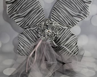 Zebra Print Fairy Wings, Girl's Butterfly Wings, Children's Pixie Wings, Black and White Wings, Play Wings, Pale Pink.  FW1705