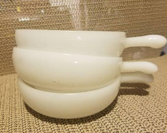 3 vintage milk glass handled bowls