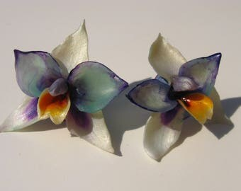 Beautiful Blue White and Turqoise ORCHID FLOWERS - OOAK Marvelous Floral Orchid Earrings, Best Jewelry Perfect Gift for Her