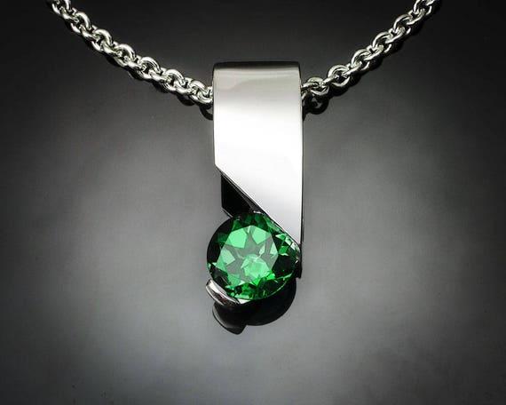 green topaz necklace, green topaz pendant, silver pendant, Argentium silver, artisan jewelry, tension setting - 3460