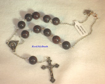 Chocolate Brown Car Rosary,10 Decate Car Rosary,Auto Rosary,Rosary,Pocket Rosary,Catholic Rosary,Catholic,Prayer Beads,Travel Rosary,Cross