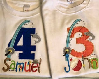 Fishing Number Applique shirt or onesie with name