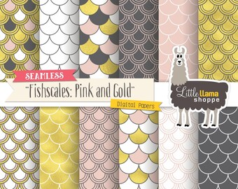Fishscales Digital Paper, Pink and Gold Pattern Backgrounds, Commercial Use, Instant Download