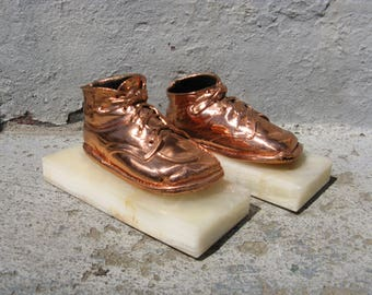 vintage bronze baby shoe bookends mid century kitsch