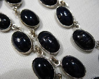 Vintage Necklace with Dark Blue Glass Cabochons