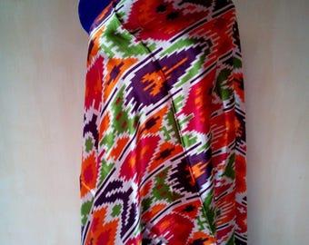 Uzbek vintage atlas silk ikat fabric 150cm. VI023
