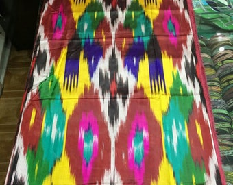 Sold out. Uzbek vintage pure silk ikat fabric 7 meters. Han atlas, tribal ethnic fabric