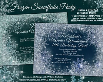Frozen Winter Wonderland Party, Winter Snowflake Ball Invitation, Winter Party Invitation, Snowflake Invitation, Christmas Party Invitation