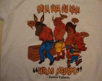 Vintage 90's Puerto Vallarta Tourist Souvenir Funny White T Shirt Size M
