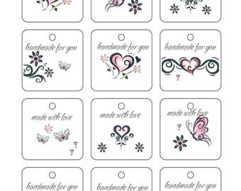 Printable Square Fancy Tattoo Butterfly Hand made with love Gift Tags Labels PDF Crochet Knit PDF only