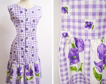 1950s Lilac white checked mermaid hem printed day dress / 50s gingham check purple poppy print cotton wiggle sun dress - M