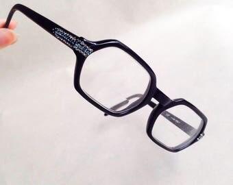 1960s Blue black rhinestone spectacle frames / 50s 60s diamanté sparkly hexagonal eyeglasses sunglasses
