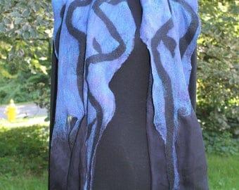 Nuno Felt wrap/scarf - Midnight Blue, Silk & Merino Wool on Silk Chiffon