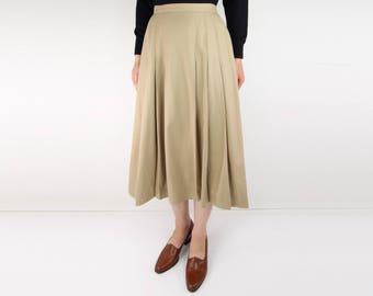 VINTAGE Camel Skirt Pleated Wool