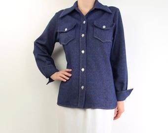 VINTAGE 1970s Denim Shirt Longsleeve Blue