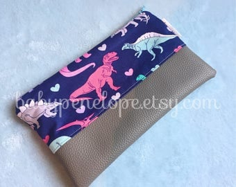 Dinosaurs Cosmetic Bag - Pencil Case - Back to School - Dinos - Pink Dinosaurs - Trex - Ready to Ship