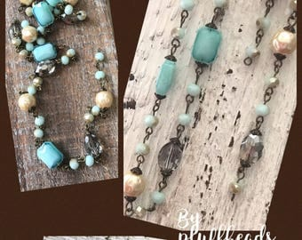 SALE New French Style Finery CLASSIC Baroque pearls AQUA milk glass light grey Crystal Beads