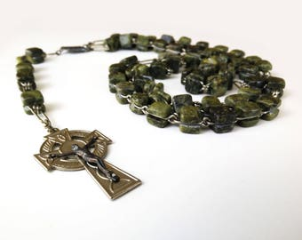 Vintage Connemara Marble Rosary / Irish Celtic Cross