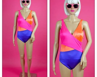 Vintage 1990s Neon Color Block Swimsuit