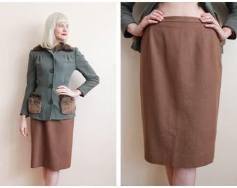 1950s Skirt // Garland Mocha Brown Wool Skirt // vintage 50s skirt