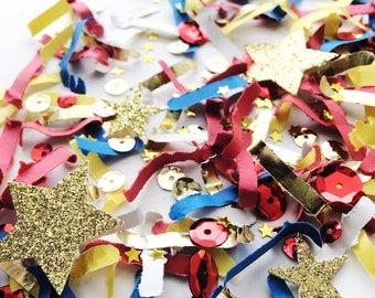Wonder Woman Party Decorations, Wonderwoman Decor, Glitter Gold Red Blue Confetti, Girl Power,  Super Hero Birthday Party, SuperHero Parties