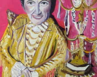 Liberace and Candelabra | original oil on 16 X 20 inch canvas | musician 1940s - 1980s era | pianist piano player art hot pink
