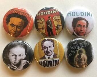 "Harry Houdini 1"" Pins Buttons Badges Set of 6 Poster Art Retro Magic Magician"