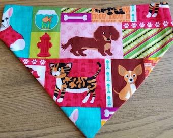 Dog bandana, dog scarf, over collar bandana, puppy bandana,