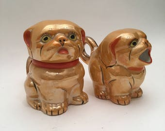 Vintage Porcelain Fu Dogs or 2 Dogs Cream And Sugar Containers Set