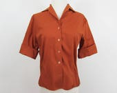 Rust roll-up sleeve blouse by Sybil - shirtwaist blouse - 1950s-60s - S-M