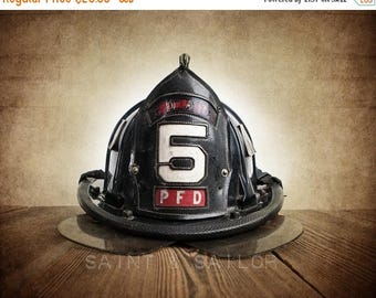 FLASH SALE til MIDNIGHT Vintage Fireman helmet Photo Art Print, Pfd 5, 12 Sizes Available from Print to Mounted Canvas