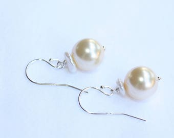 Gold Keishi Pearl Earrings, Wedding Pearls, Bridal Pearl Earrings, Sterling Silver, handmade pearl earrings, ready to ship