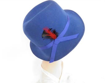 Blue fedora hat, vintage royal blue, red feather, 1960s