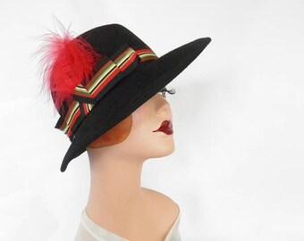 Black fedora hat, vintage woman's Fabini, 1960s 1970s