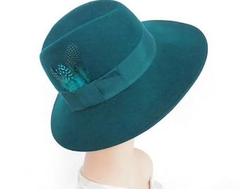 Fedora vintage hat, woman's teal aqua tilt, Liz Clairborne