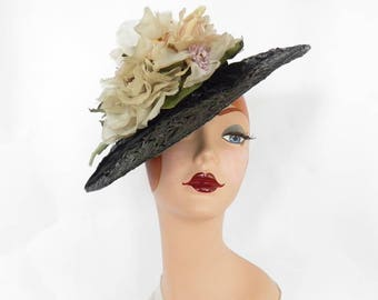 Woman's 1940s hat, vintage tilt, black straw ivory flowers