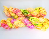 """Merino bulky neon hand dyed yarn - Knitting me softly base, colourway """"Tropical Speckled"""""""