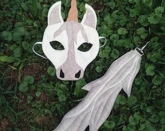 felt unicorn mask and tail set