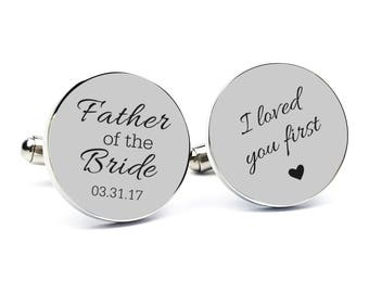 Personalized Cufflinks Engraved Cufflinks Round Cufflinks Cuff link Gifts for Him Father of the Bride Cufflink Father of the Bride Gift 2
