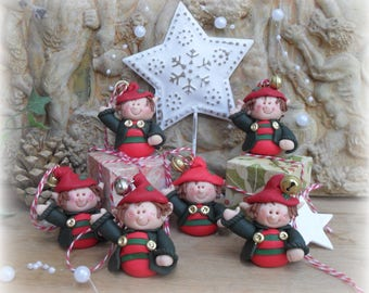 CHRISTMAS TREE Decorations, ELF Polymer Clay Xmas Festive Hanger