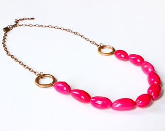 Pink beaded necklace, Tagua Nut necklace, Copper necklace