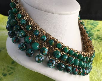 Rare Mearcelle Original by Ballet Vintage Murano beaded Mid Century Choker.