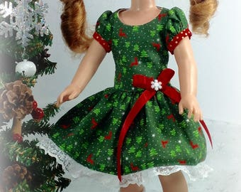 14Inch Doll clothes-Fits like Wellie wisher-Green Christmas Dress-H4HDoll-stocking stuffer