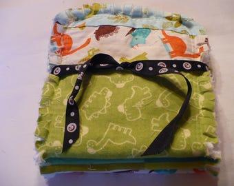 Baby Boy Rag Quilt Burp Cloth 3 Piece Set Burp Towels Dinosaurs Aqua Turquoise Lime Orange Baby Boy Shower Gift Cotton Chenille