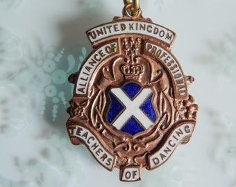 Vintage Enamel Watch Fob Medal English Dance Memorabilia