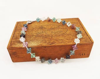 Fluorite Necklace, Multicolour Fluorite and Hemitite Necklace, Gemstone Necklace
