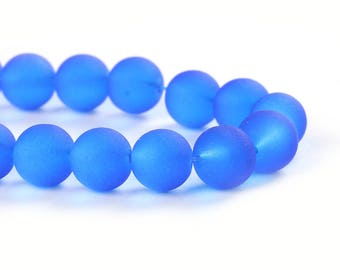 """10mm Dark Blue Frosted Glass Round Beads - 15"""" strand (40cm) - Approx 40-42 beads per strand - Hole Size: 1.3mm"""